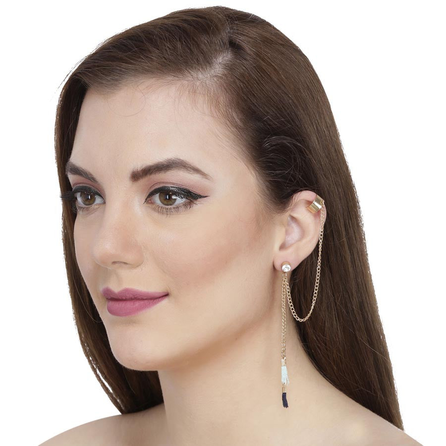 Fayon Crystal Stud With Golden Tassels Ear Cuff For Single Ear
