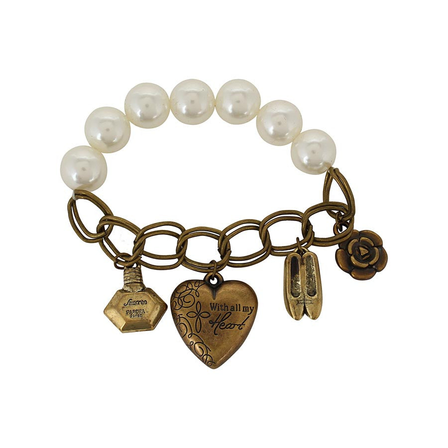 Fayon Casual Vintage Heart Shoe Charms Pearl Bracelet