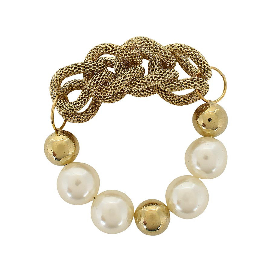 Fayon Party Style Diva Cream Pearl And Golden Braided Bracelet
