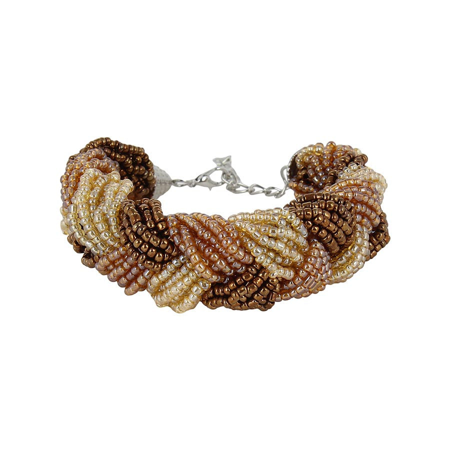 Fayon Stylish Brown & Cream Beaded Cuff Bracelet