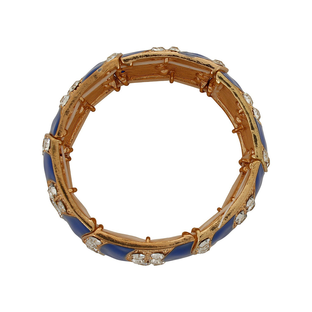Fayon Contemporary Statement Dark Blue Elastic Bracelet