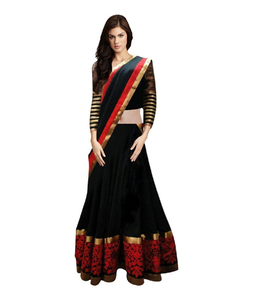 Arxar fashion semistitched raw silk lehenha choli(AR_balck and red lehenga)
