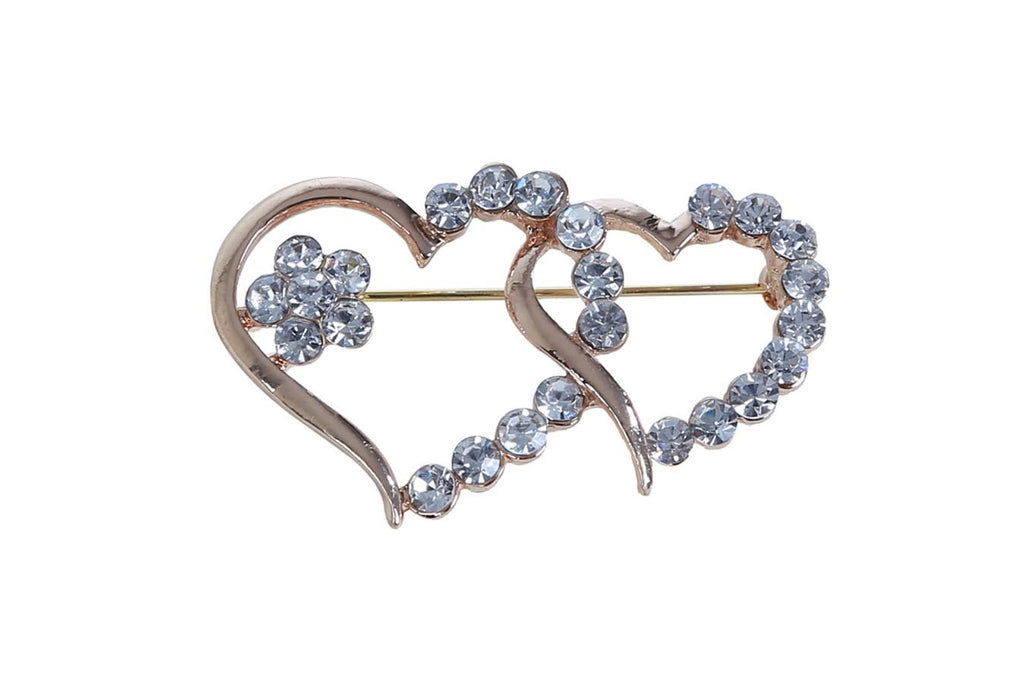 Double Heart Rose Gold Plated Brooch