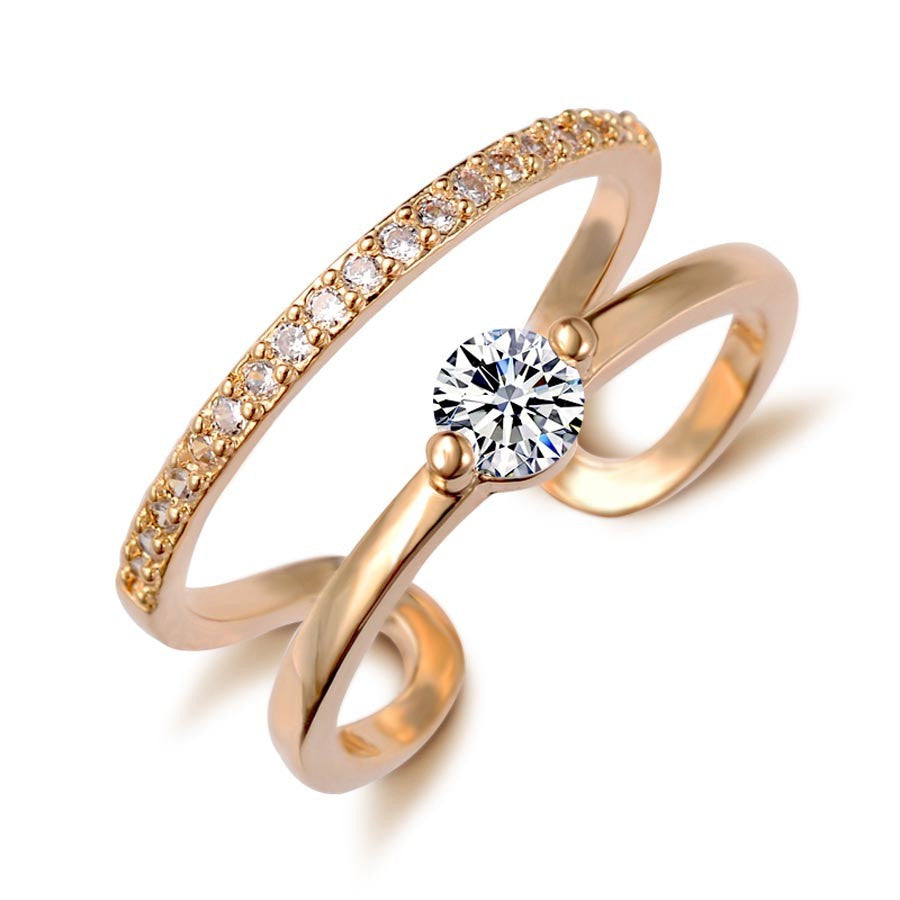 Gold Plated Double Zircon Crystal Rings