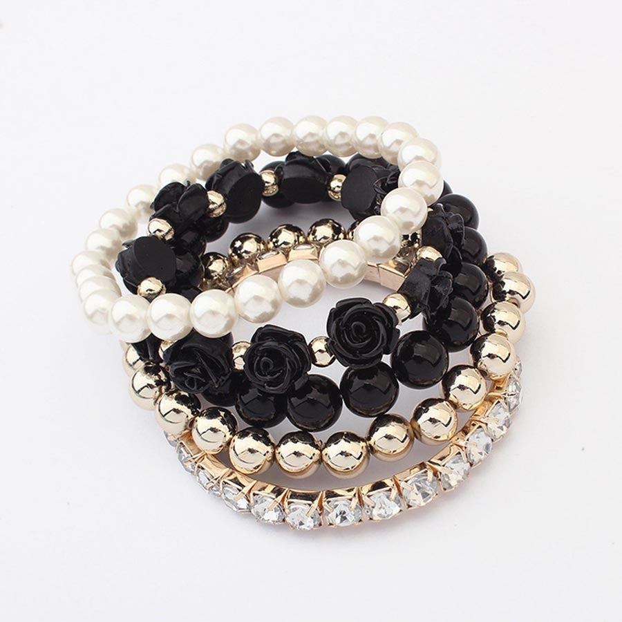 Black Color Pearl Rose Flower Bracelet