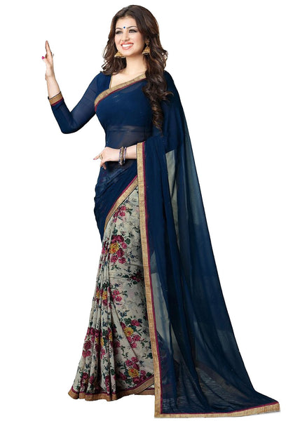 wama fashion latest designer royal blue colour saree