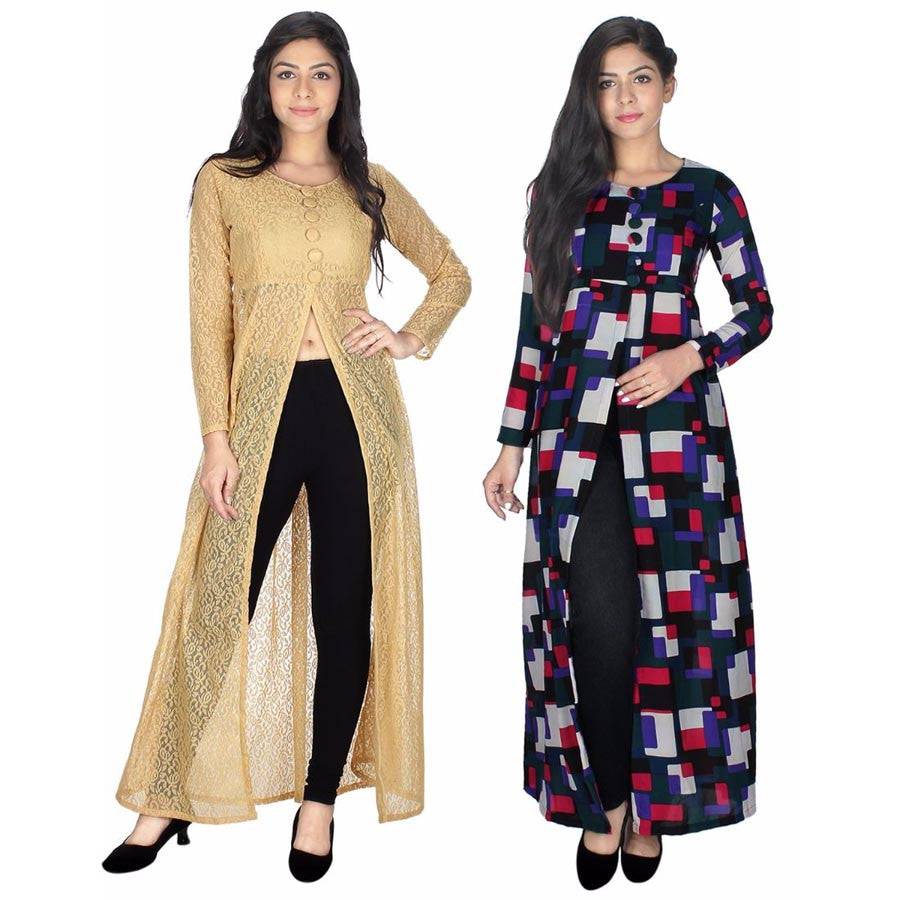 E Smart Deals  Beige & Multi Colored Kurti Combo