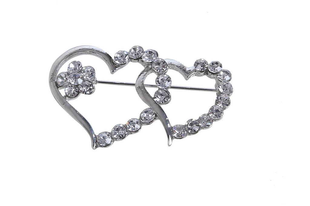 Double Heart Silver Plated Brooch