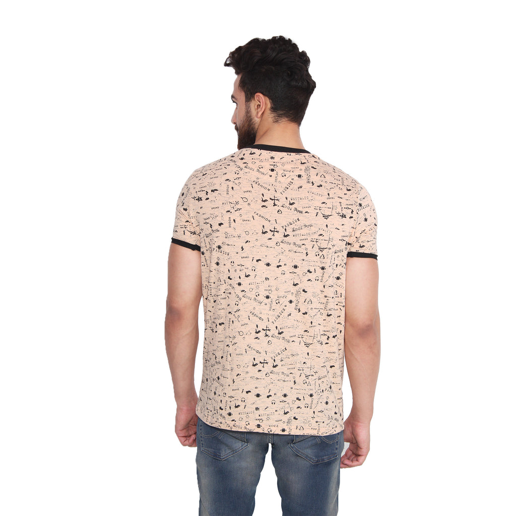 Koolpals Printed Men's Round Neck Beige T-Shirt
