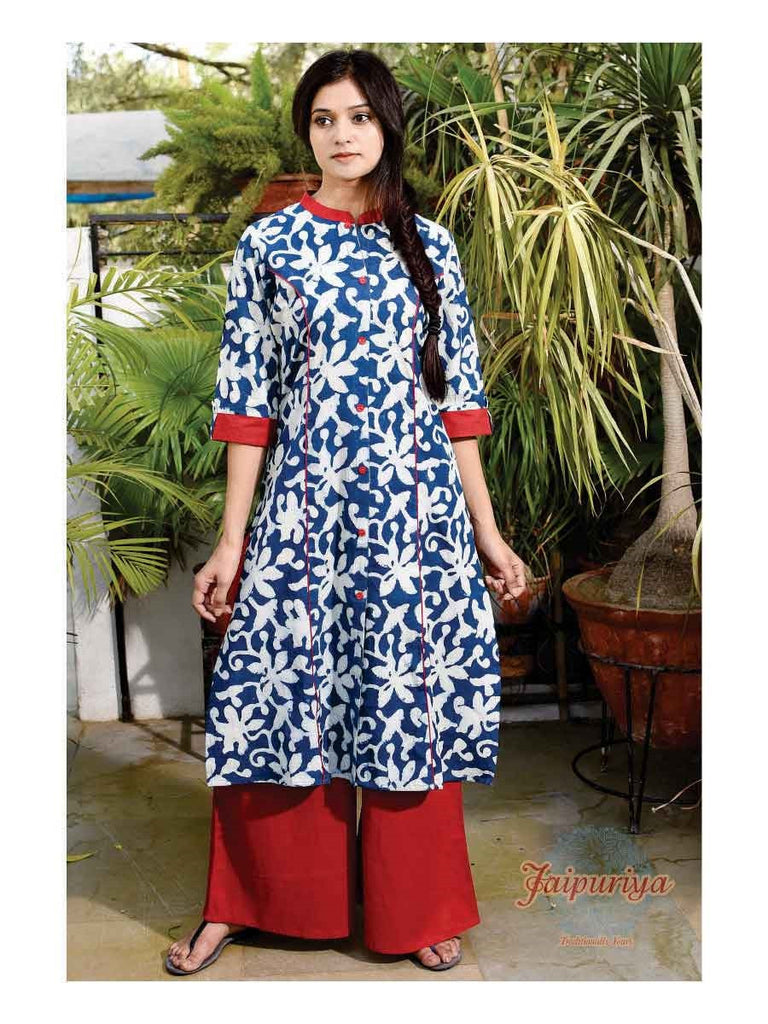 Jaipuriya Indigo Red Princess Teen-Kalidar KURTA