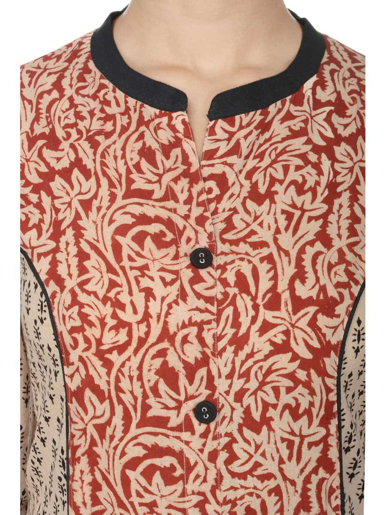 Jaipuriya Beige and Maroon Princess Teen Kalidar Kurta