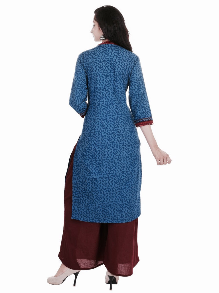 Jaipuriya Blue Cotton Jaal Print Kurta with black detailing