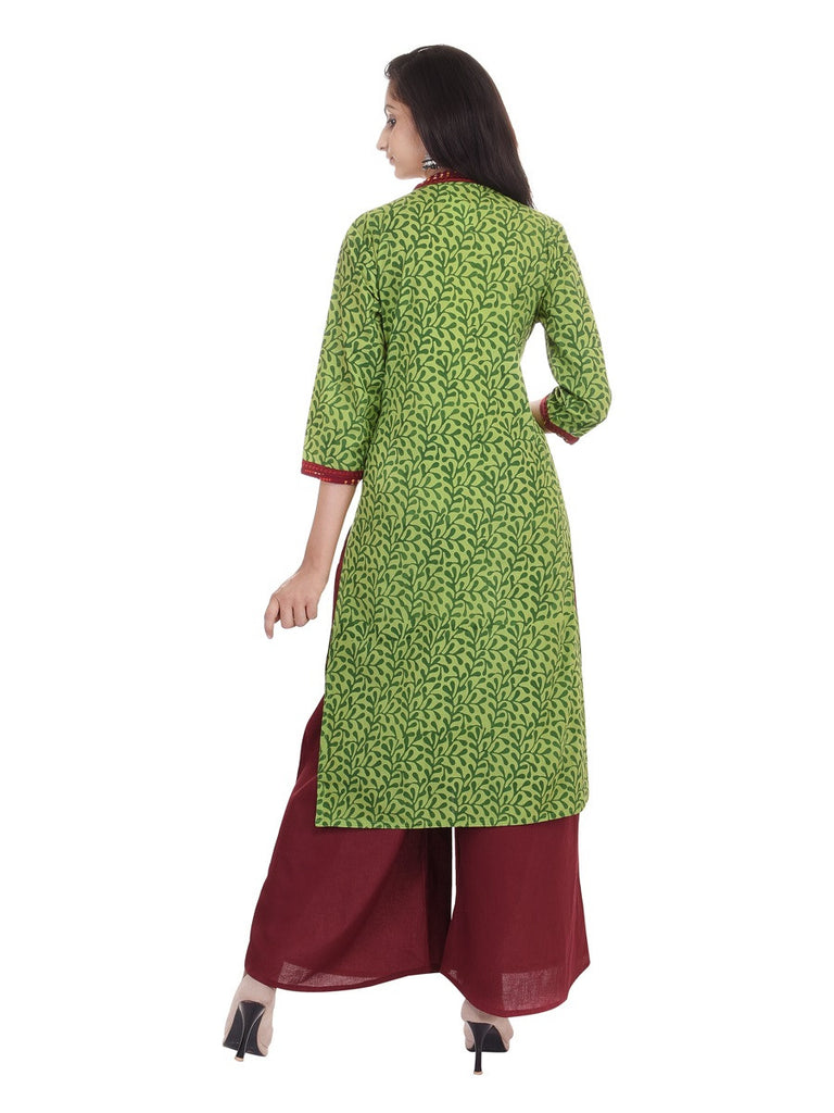 Jaipuriya Dark Green Cotton Jaal Print Kurta with Maroon Detailing