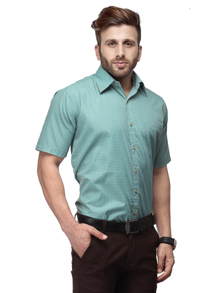 Koolpals Cotton Blend Green And Beige Formal Checkered Shirt