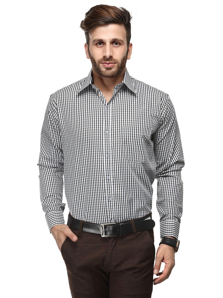 Koolpals Cotton Blend Black & White Formal Shirt
