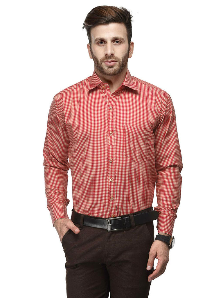 Koolpals Cotton Blend Red & Beige Formal Checkered Shirt