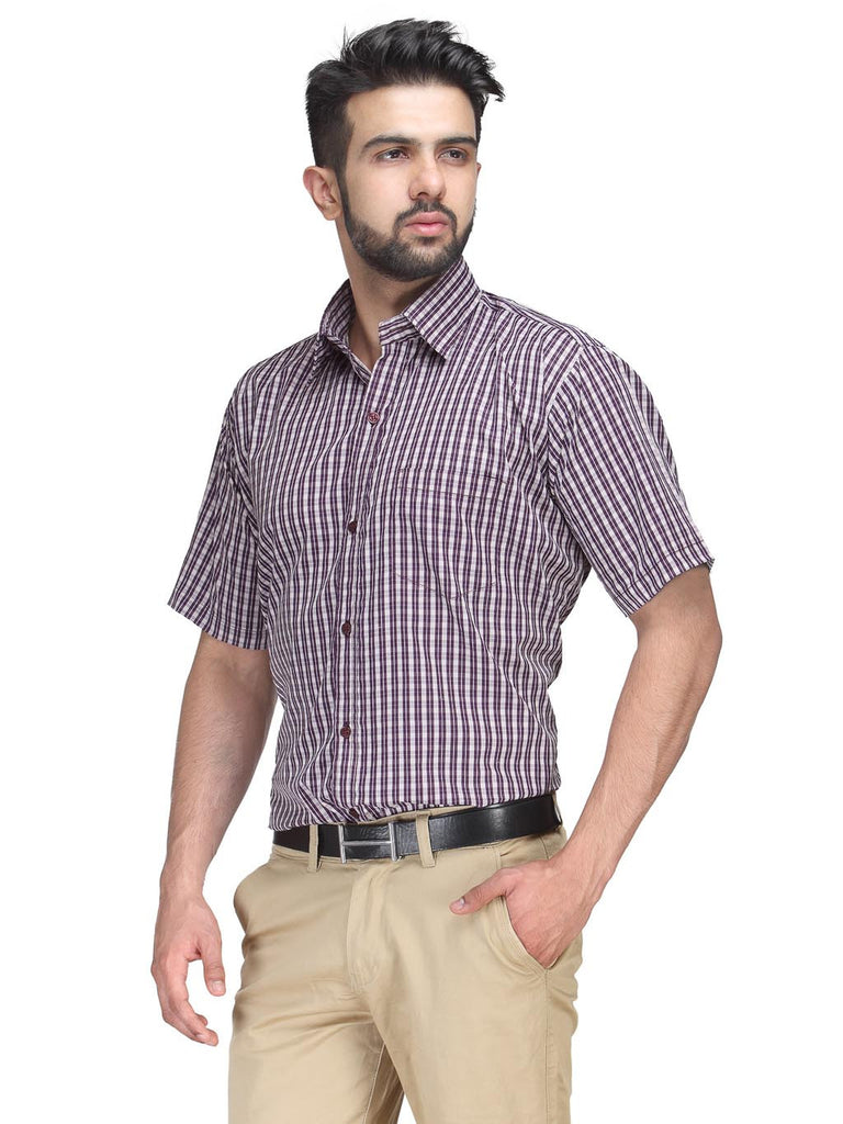 Koolpals Rich Cotton Wine Color Checkered Shirt