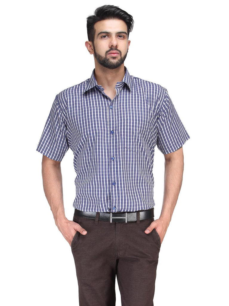 Koolpals Rich Cotton Blend Beige & Blue Checkered Shirt