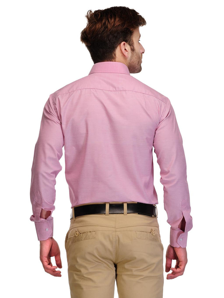 Koolpals Cotton Blend Pink Self Design Formal Shirt