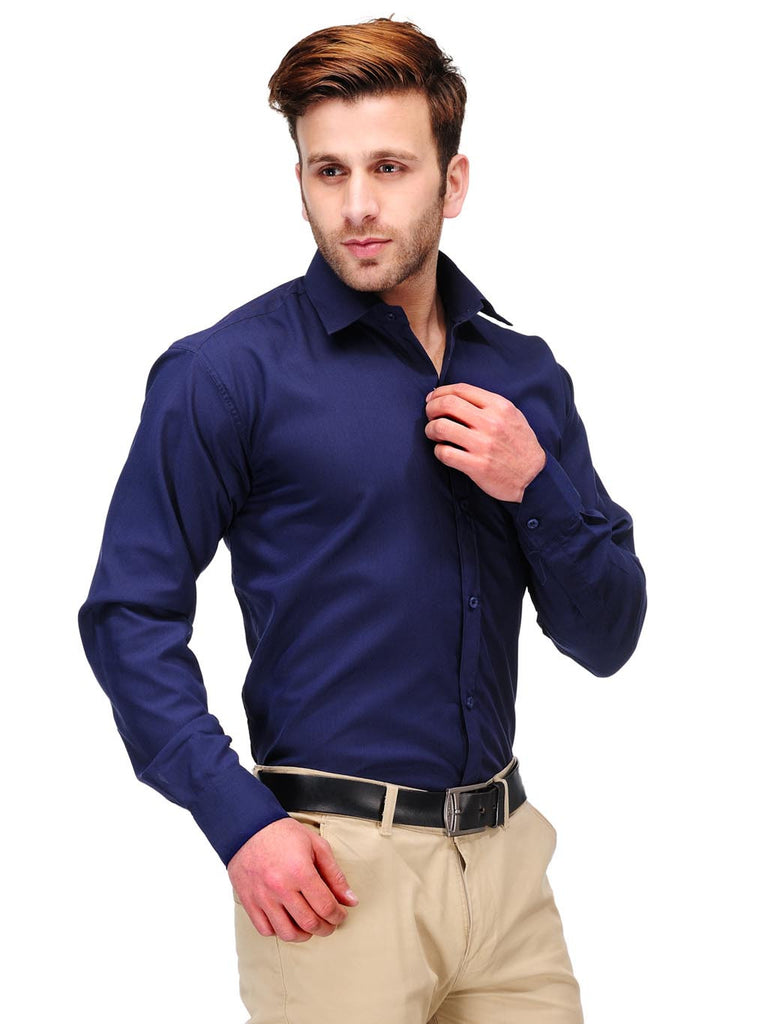 Koolpals Cotton Blend Solid Navy Blue Formal Shirt