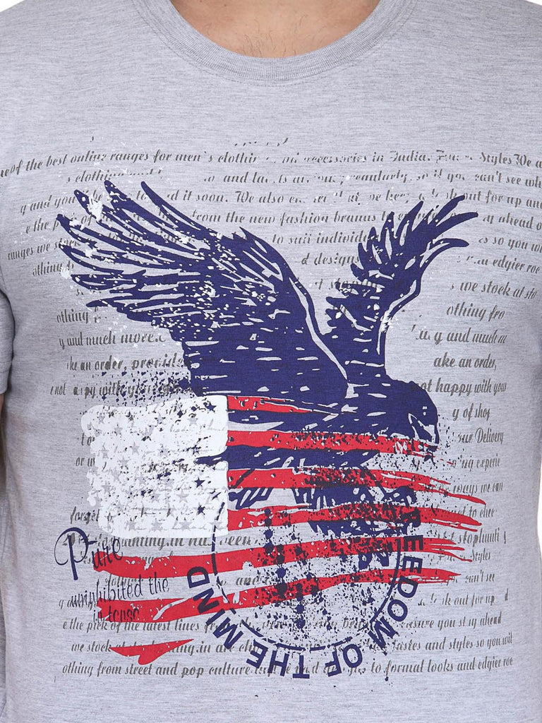 Round Neck Eagle Grey Printed Cotton T-shirts