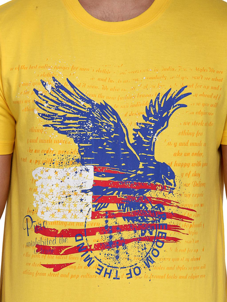 Koolpals Round Neck Eagle Yellow Printed Cotton T-shirts
