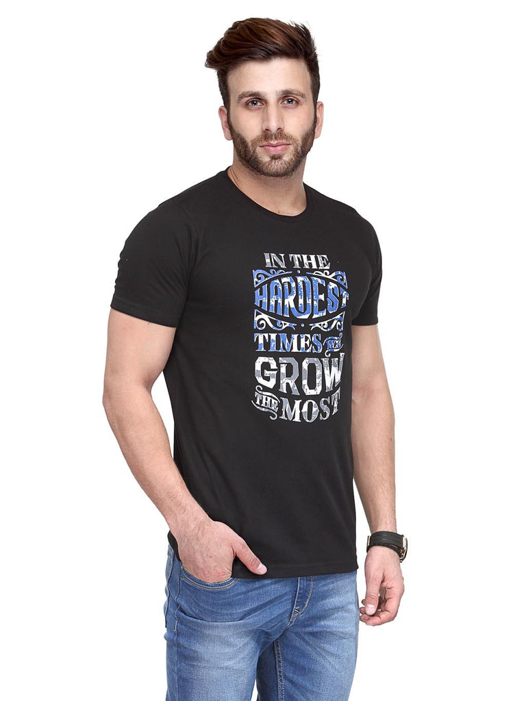 Koolpals Round Neck Grow Black Printed Cotton T-Shirts