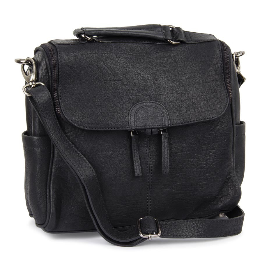 Black Leather Sling Bag