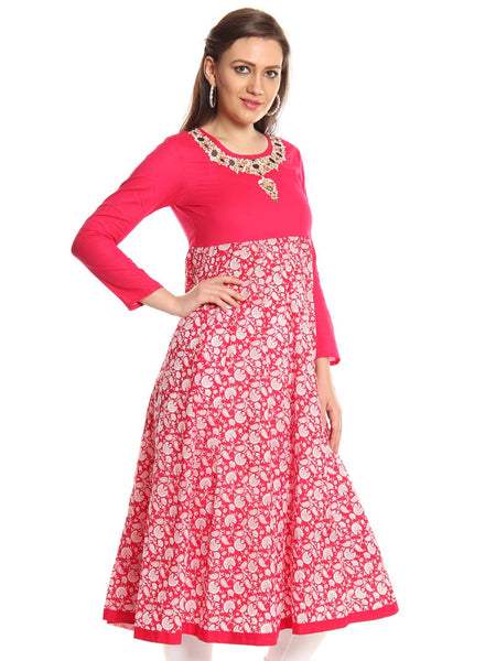 IMARA by Sharddha Kapoor Pink Kurta With Long Panel