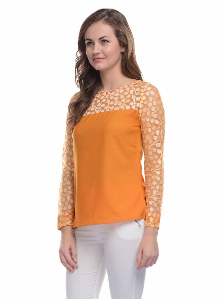 Ruhaan's Mustard Color Full Sleeves Top