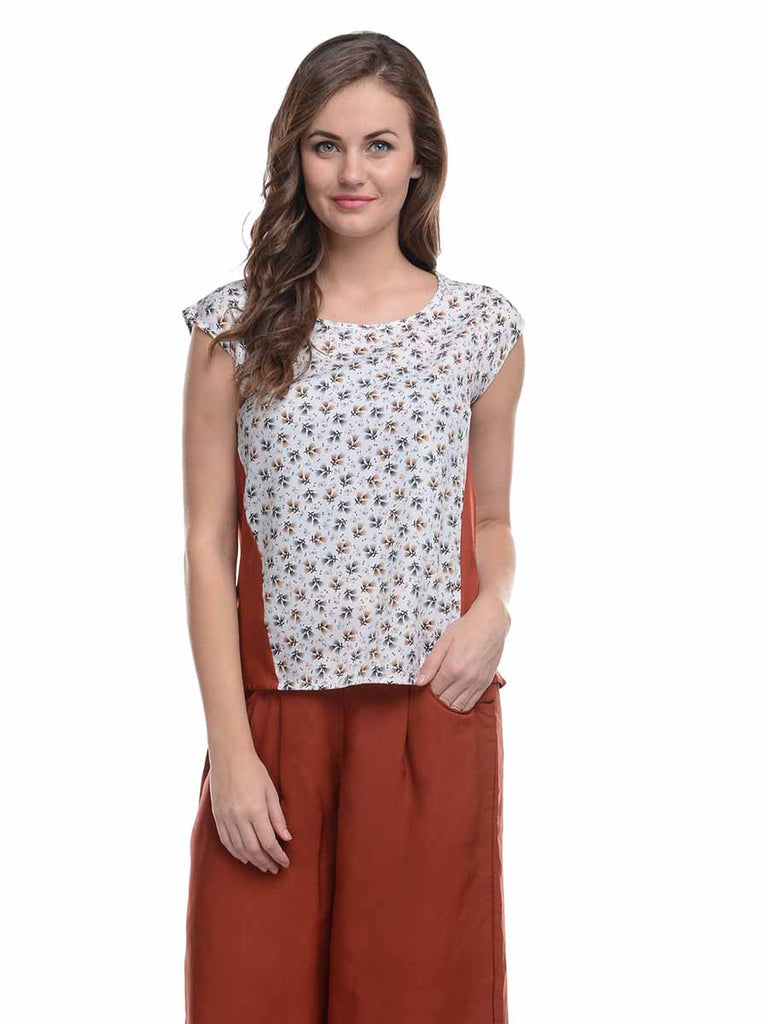 Ruhaan's Rust White Short Sleeves Top