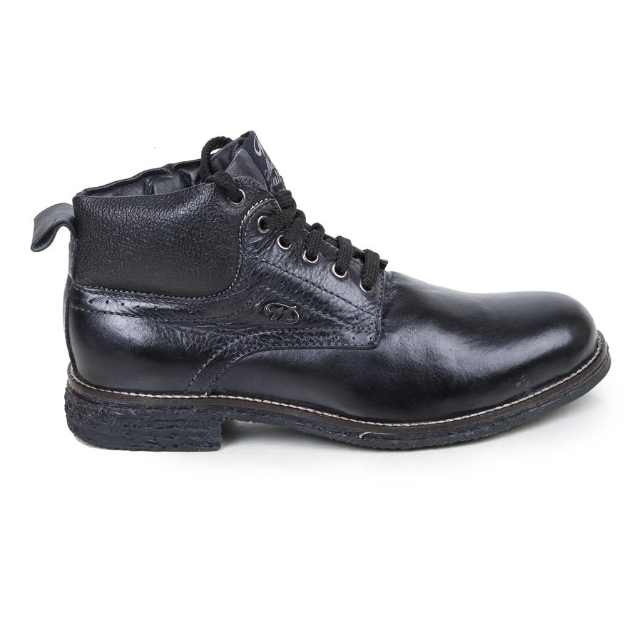Massimo Italiano Black Stylish Leather Boots