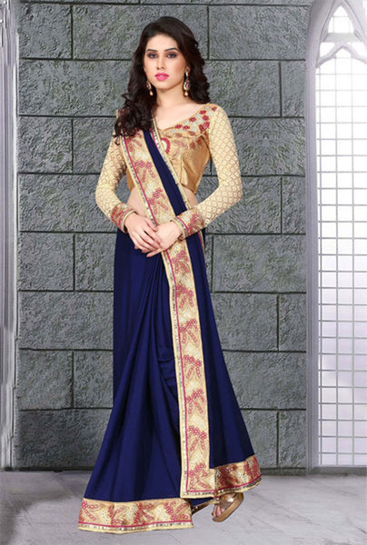 Intriguing Navy Blue Colored Chiffon Saree