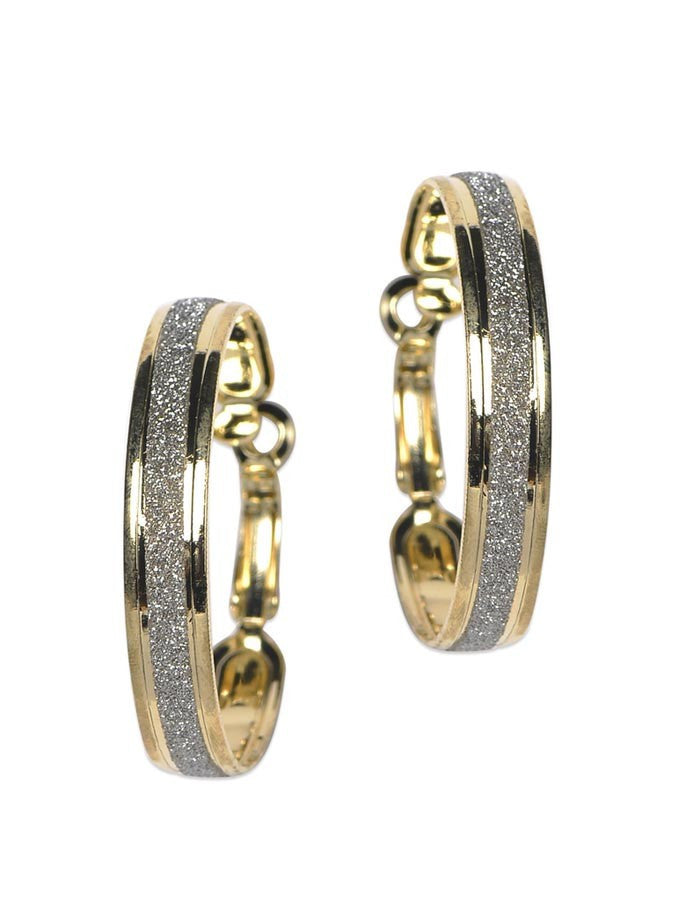Gold & Silver Plated Sparkling Round Earring