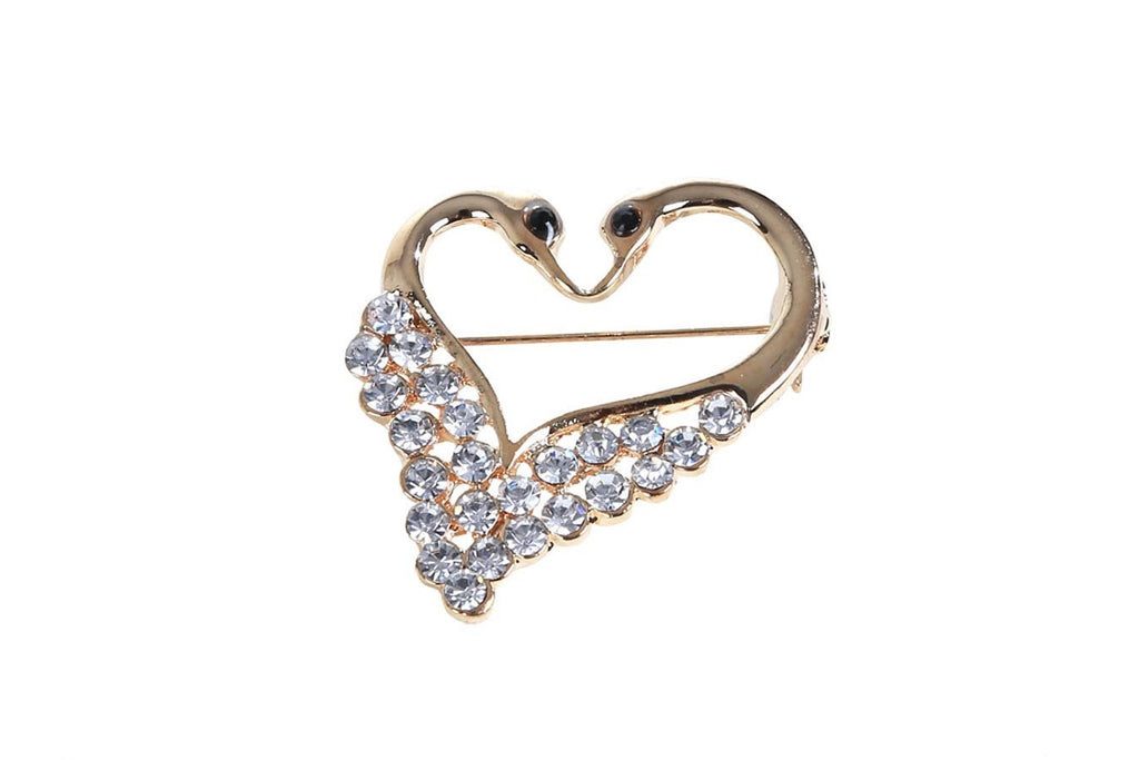 Double Swans Heart Shape Golden Brooch