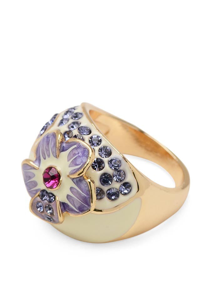 Enamel Flower Austrian Crystal Ring