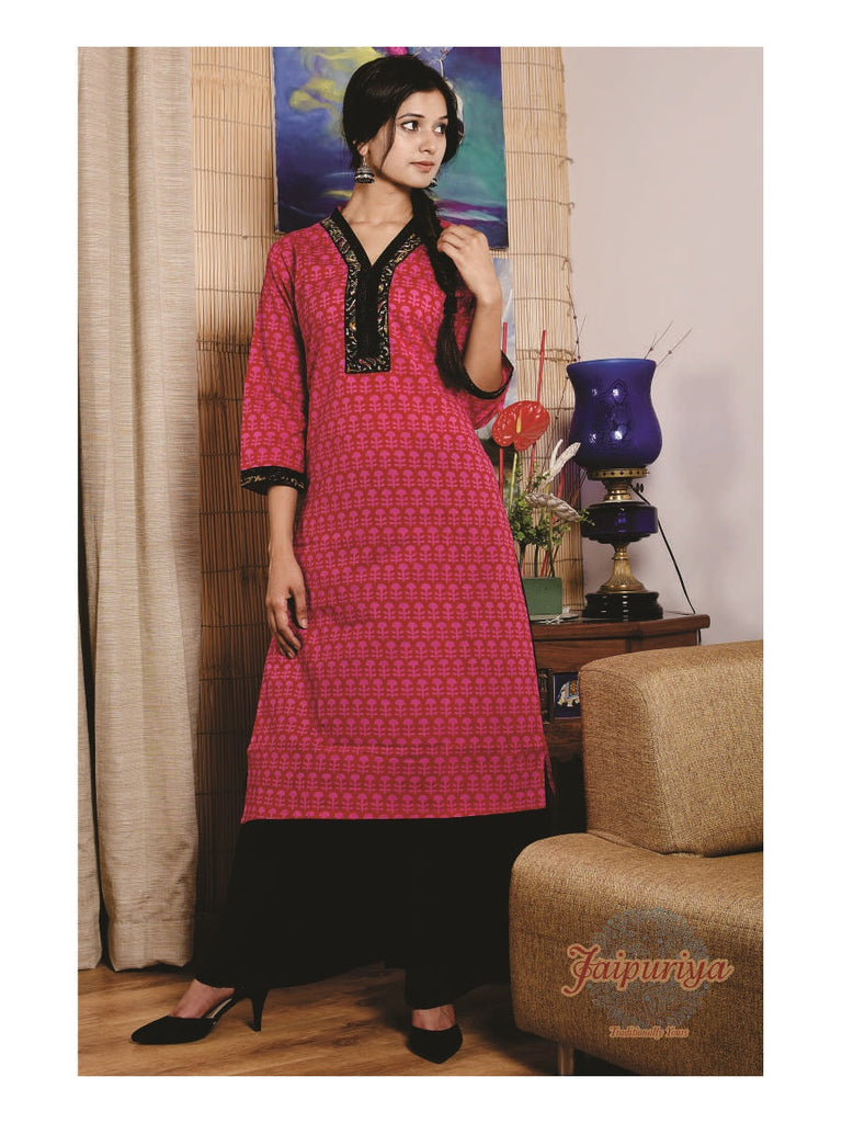 Jaipuriya Rani Pink Cotton Buti Print Kurta with black detailing