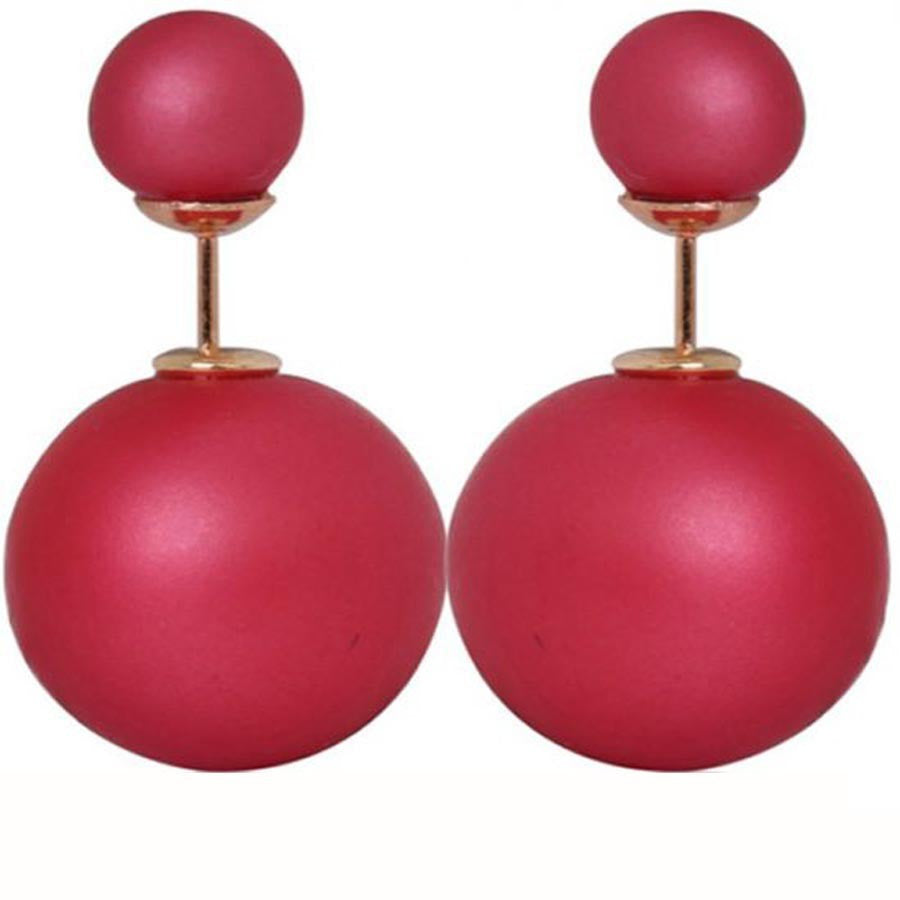 Double Side matte Pearl Stud Earring