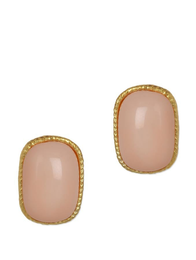 Pink Rectangle Stud Earring