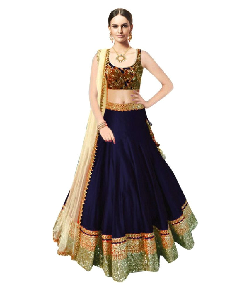 Axar fashion semistitched raw silk semistitched  lehenha choli(AR_beauty_blue)