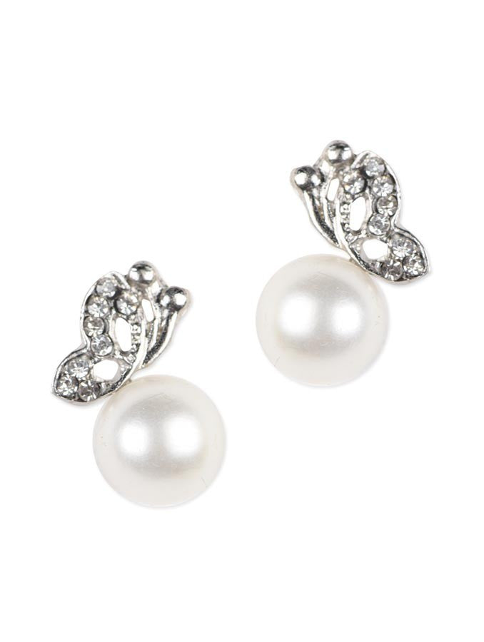 Silver Plated Pearl Butterfly Earring