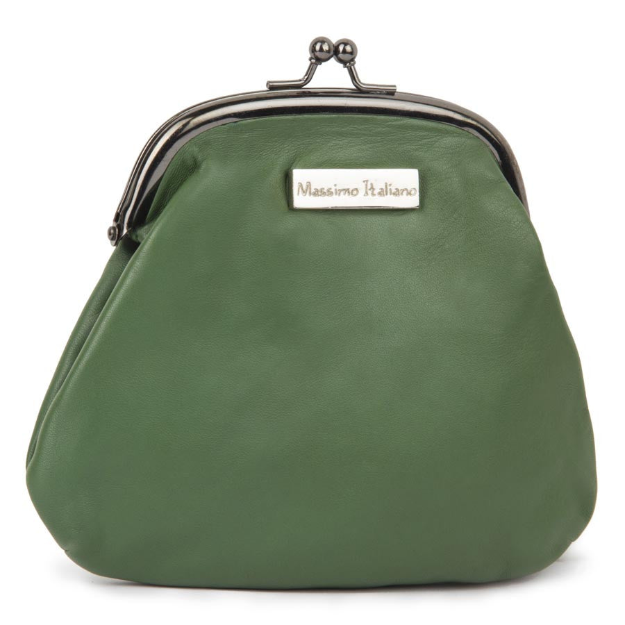 Massimo Italiano Women Green Leather Clutch