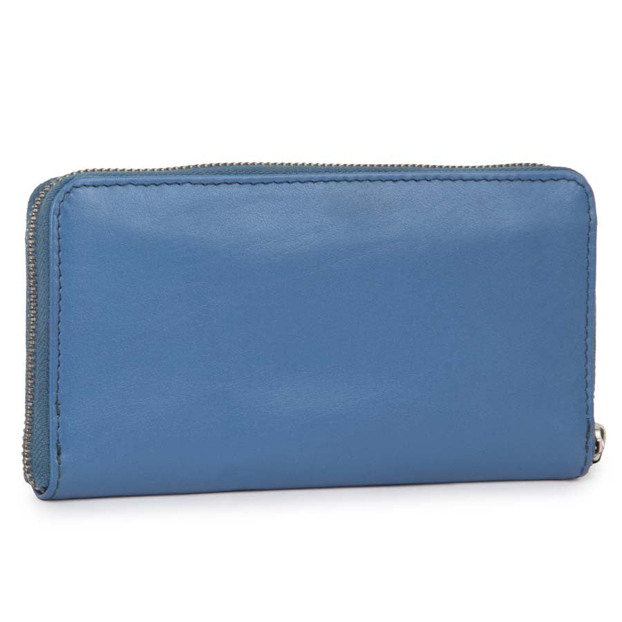 Women Leather Blue Wallet