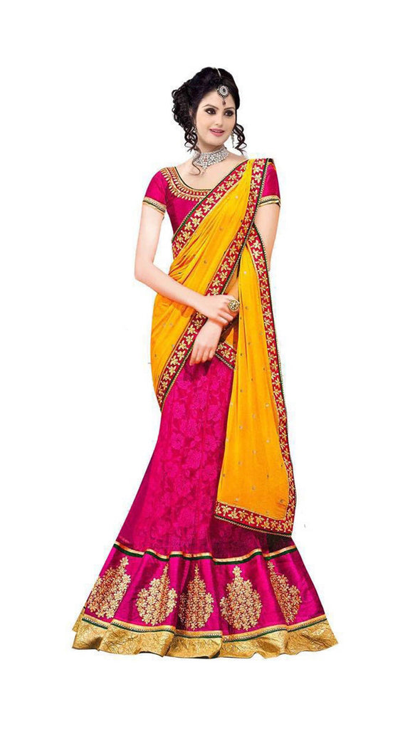 Axar fashion yellow and pink color silk semistitched lehenga cholii(AR_hans_rani)