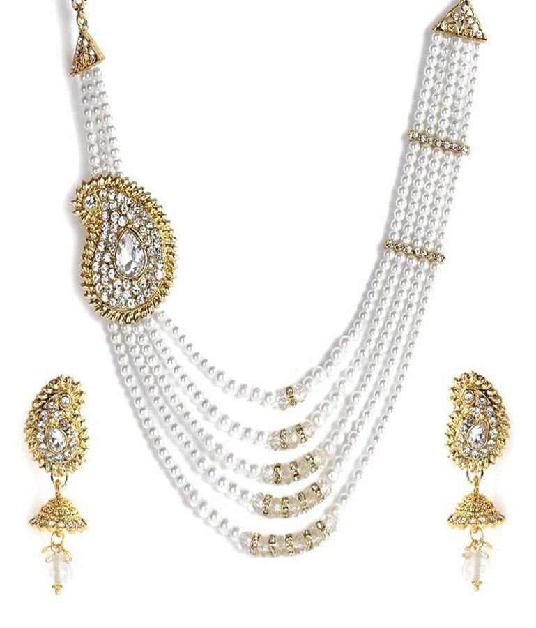 Paisley Style Pearl Necklace Set