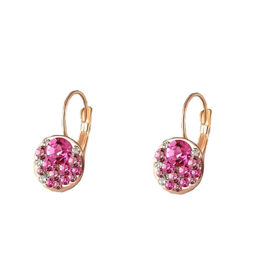 Cute Round Pink Bridal Earring