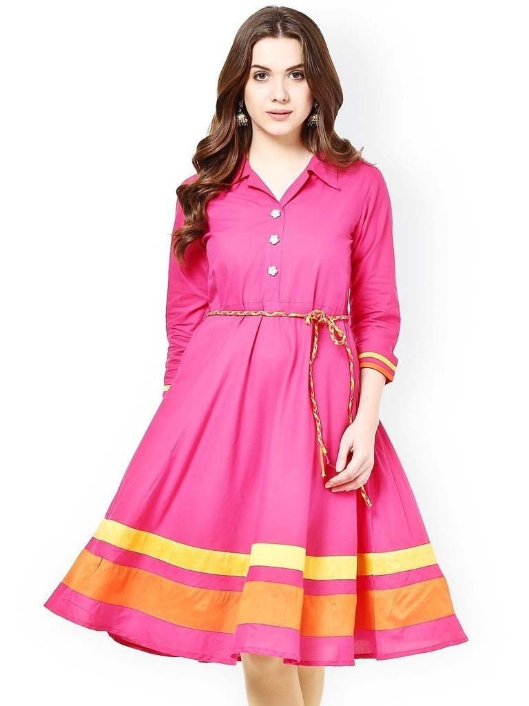Axar fashion pink color pretty kurti(AR_pink kurti)