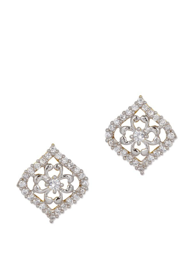Rectangle Shaped Stud AD Earring