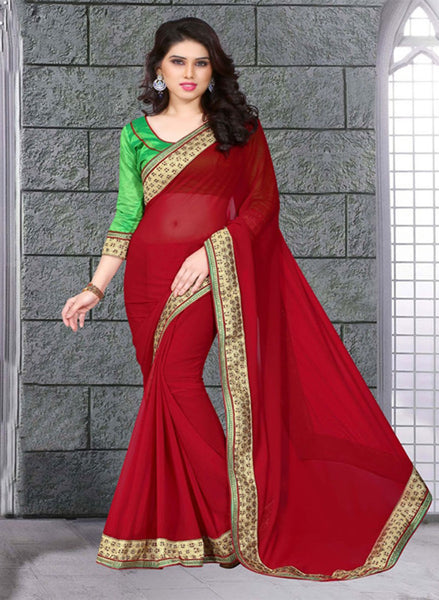 Voguish Red Colored Bemberg Georgette Saree