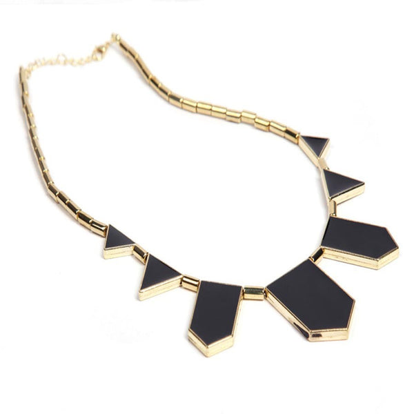 Black Geometrical Irregular Pendant Necklace